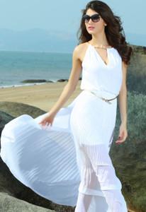 Chiffon Jersey Maxi Dress With Gold Chain White