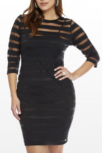 Round Collar Three Quarters Sleeve See-through Plus Size Dress