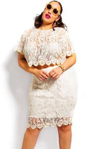 White Plus Size Scallop Lace Crop Skirt Set