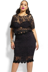 Black Plus Size Scallop Lace Crop Skirt Set