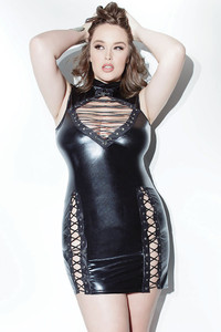Black Plus Size Sexy Lace up Wet Look Leather Dress