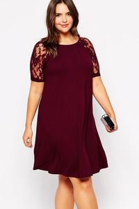 Wine Lace Raglan Short Sleeves Plus Swing Dress
