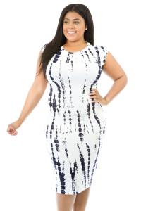 Tie Dye Cut-out Back Plus Size Midi Dress