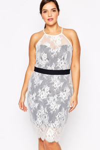Paper Dolls Plus Lace Overlay Halterneck Pencil Dress