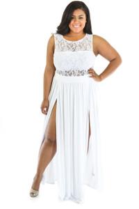 White Plus Size Reign Maxi Dress