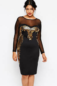 Gilded Print Mesh Insert Black Plus Size Dress