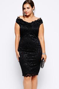 Plus Lace Overlay V Neck Dress