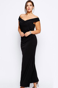 Drop Shoulder Plus Size Black Dress
