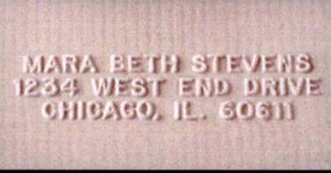 Embossed example of 3-line Address in Helvetica font, all caps
