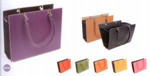 Recycled Leather Expandable Business Tote Bag