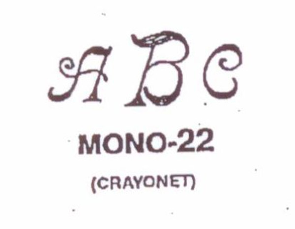 Classic Mono #22 Last initial larger, in center