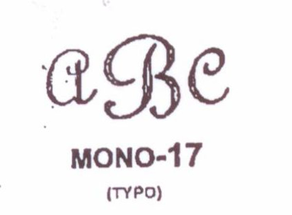 Classic Mono #17 Last initial larger, in center