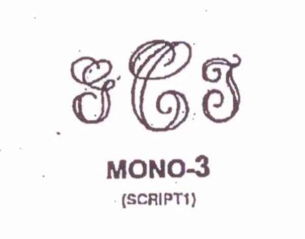 Classic Mono #3 Last initial larger, in center