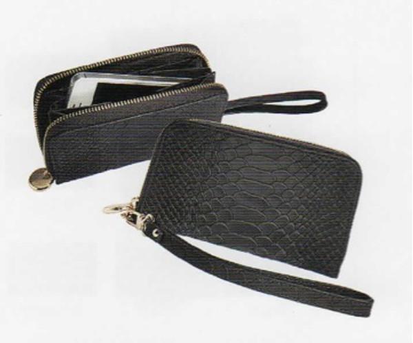 Leather Python Embossed Wristlet Phone Wallet in Black Python