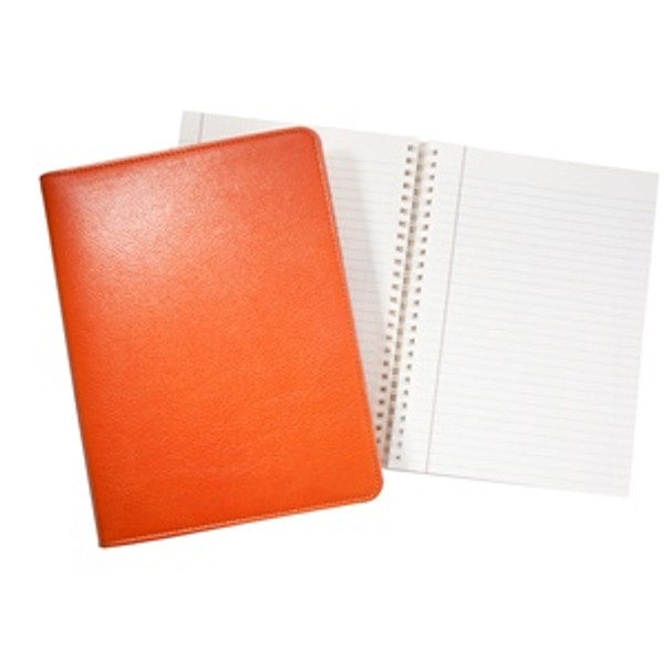 "Refillable Journal 7x9"" Bright Orange Leather"