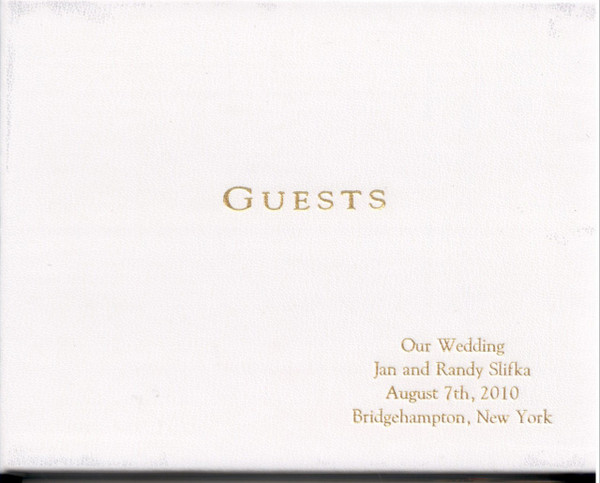 White Leather Guest Book - Sample Engraving
