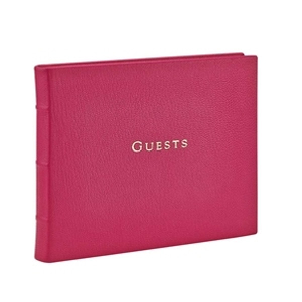 Sunset Pink Leather Guest Book