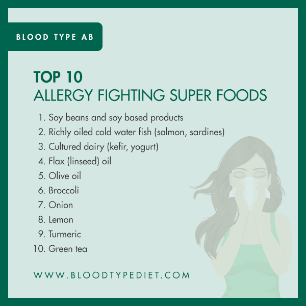 Top 10 Allergy Fighting Super Foods for Blood Type AB
