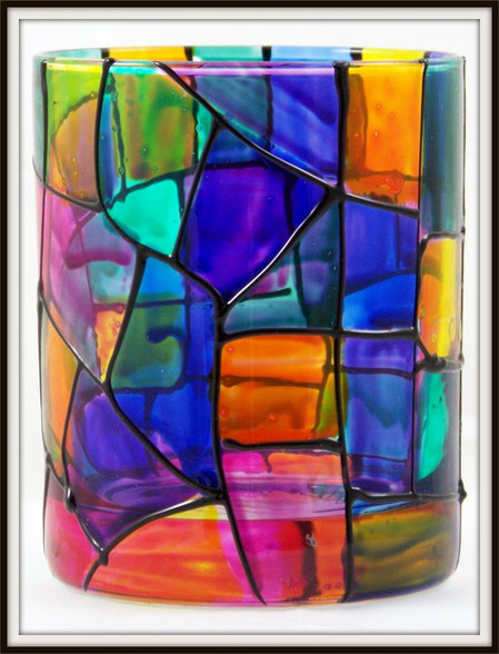 Hand-painted StainGlass Traditional Black Rocks