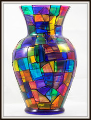 Hand-painted StainGlass Traditional Black Urn Vase