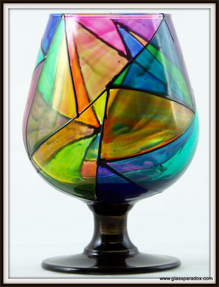 Hand-painted StainGlass Contemporary Brandy