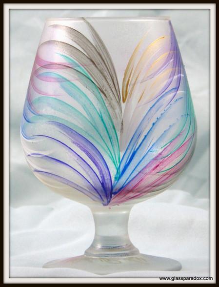Hand-painted Fan Brandy Glass