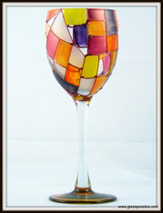 Hand-painted Autumn Wine Glass