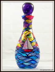 Hand-painted Sailboat at Sunrise Decanter
