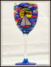 Hand-painted Sailboat at Sunrise Goblet