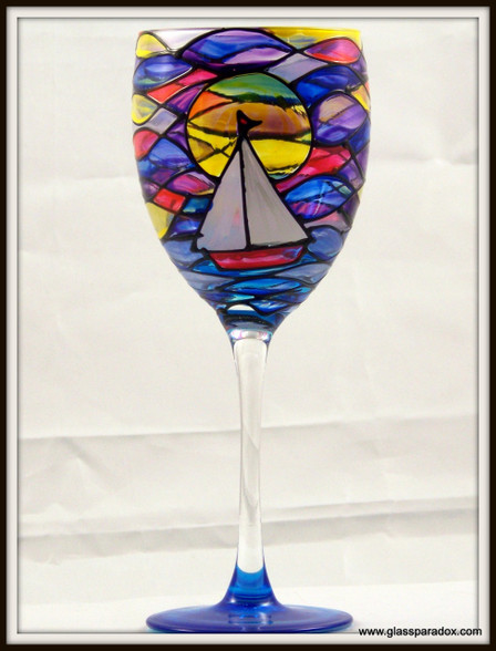 Hand-painted Sunrise Goblet