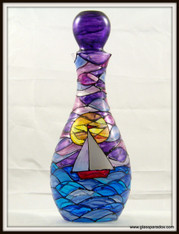 Hand-painted Sailboat at Sunset Decanter