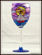 Hand-painted Sailboat at Sunset Goblet