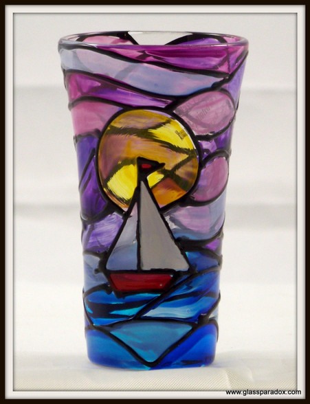 Hand-painted Sailboat at Sunset Shot Glass