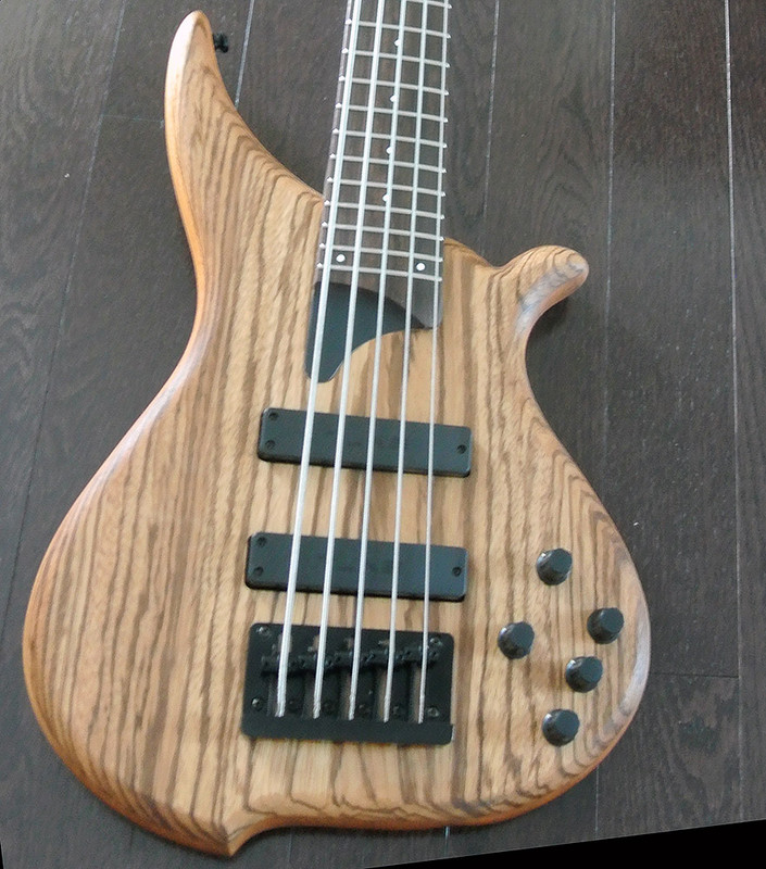 TUNE Hatsun TWB53 ZB - 5 String  Bass - Zebra Wood Top - Black Hardware