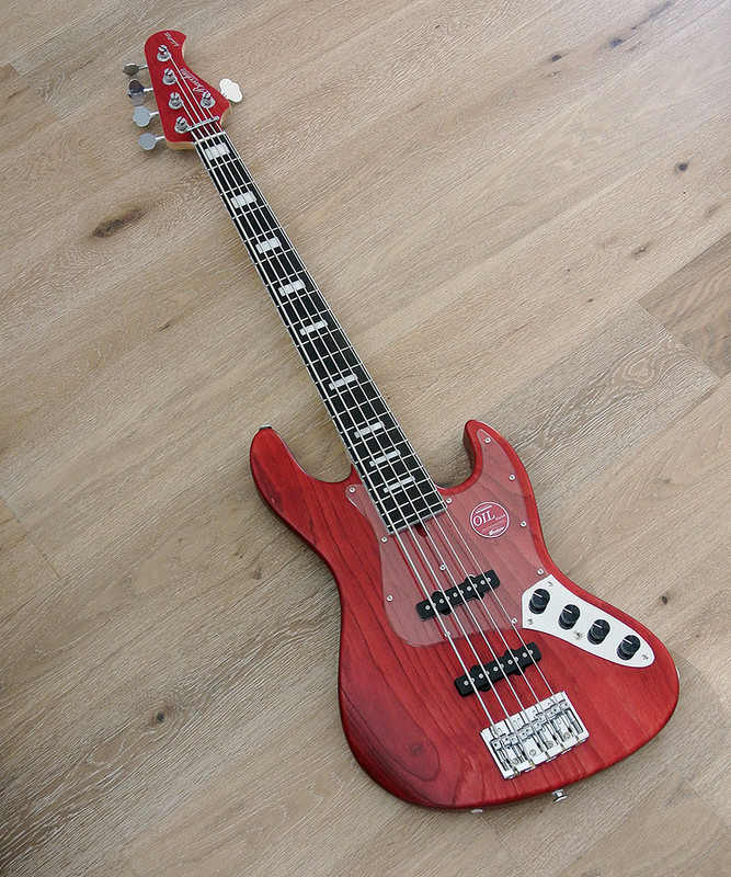 Bacchus Handmade Japan Series -  WOODLINE DX5-AC/E - Active 5 String Bass - Red Oil Finish