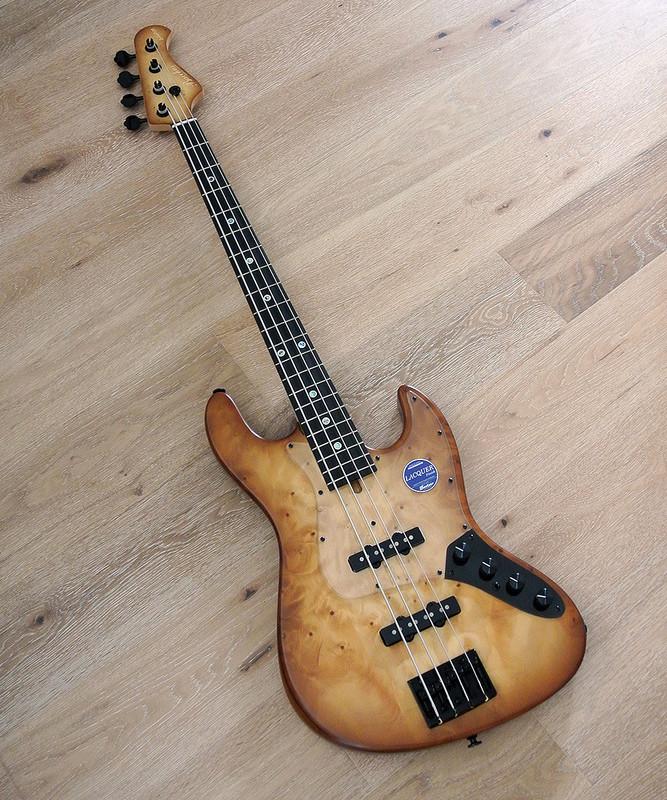 Bacchus Handmade Japan Series - WOODLINE DX4AC / EWC GB - 4 String Active Bass - Ginan Burl Top - Brown Burst