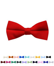 Boy's Stylish Poly Satin Banded Clip On Bow Ties