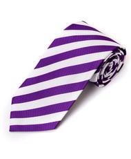 BG College Woven White & Purple Tie
