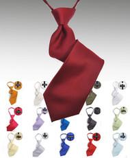 Boy's Poly Solid Satin Zipper Ties