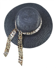 BG Black Wide Brim Hat with Leopard Ribbon
