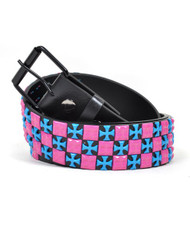 BG Blue Crosses & Pink Squares Women's Fashion Belt