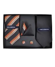 Black Solid & Orange Woven Ties with Matching Hankies & Cufflinks Gift Set