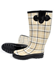 Perfect Beige Plaid Rain Boots