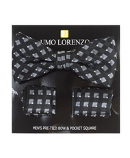 Black Lined Banded Bow tie and Matching Hanky Set