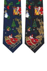 Santa Sleighing Poly Zipper Christmas Ties