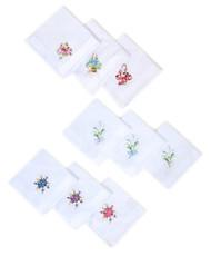 Women's Floral Embroidered Cotton Handkerchief 6 Piece Set