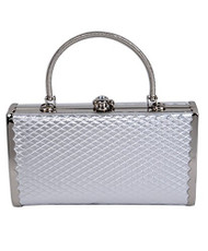 Silver Metallic Color Cocktail Clutch Bag
