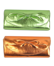 Women's Bright Color Faux Leather Evening Bag with Bow