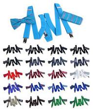 Unisex Y Back Design Elastic Solid Suspenders, Patterned Bow Tie & Matching Hanky Set