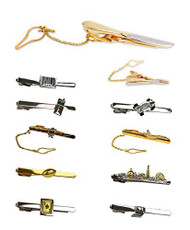 Men's Fashion Gold & Silver Tone Novelty Collection Tie Bar